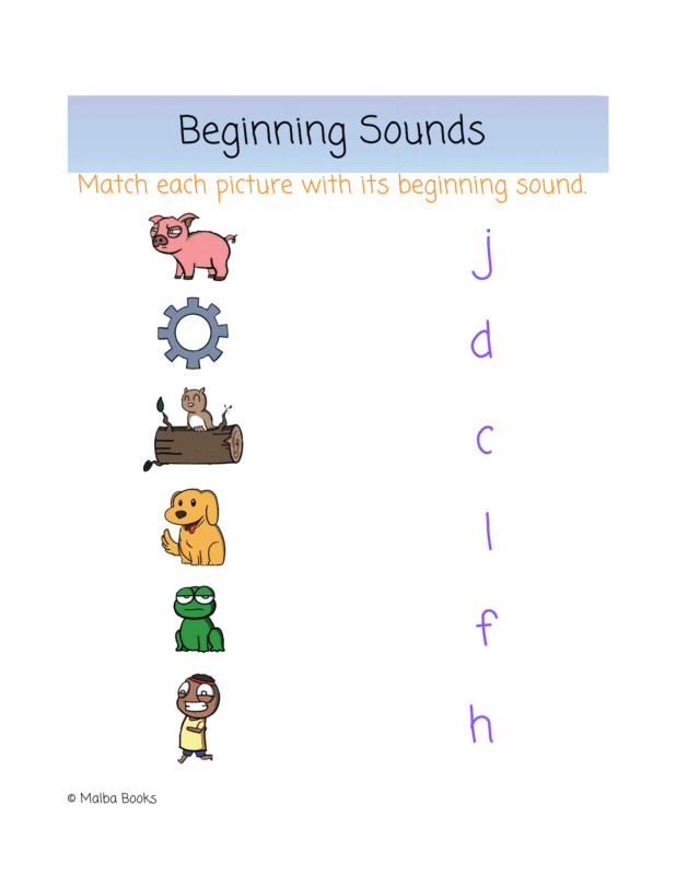 Pictures of words ending in 'OG' such as cog, dog, frog, etc are down one side of the page, while the first letter of each word is in a column opposite. A game to pair words with their starting sounds