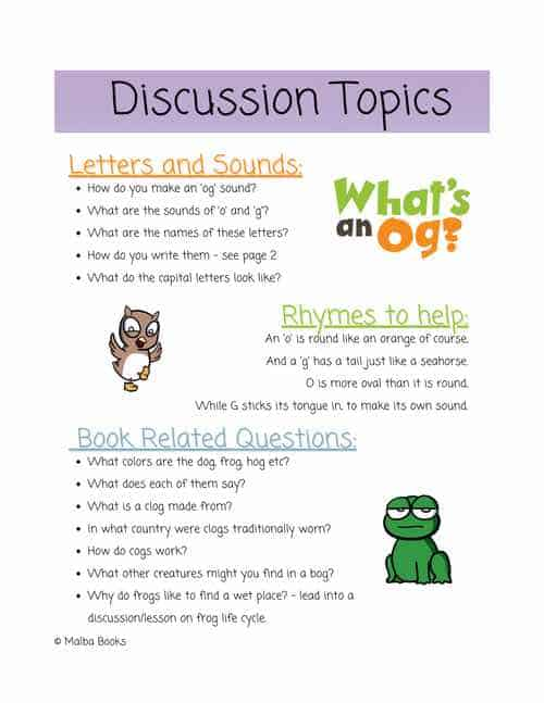 """Discussion points and questions relating to the book """"What's an Og?"""". Guide for parents and teachers."""