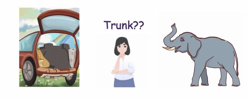 Cartoon image of a woman with the word TRUNK? over her head.  On her left is a picture of a car with it's boot or trunk open and on the other side an elephant with its trunk up.