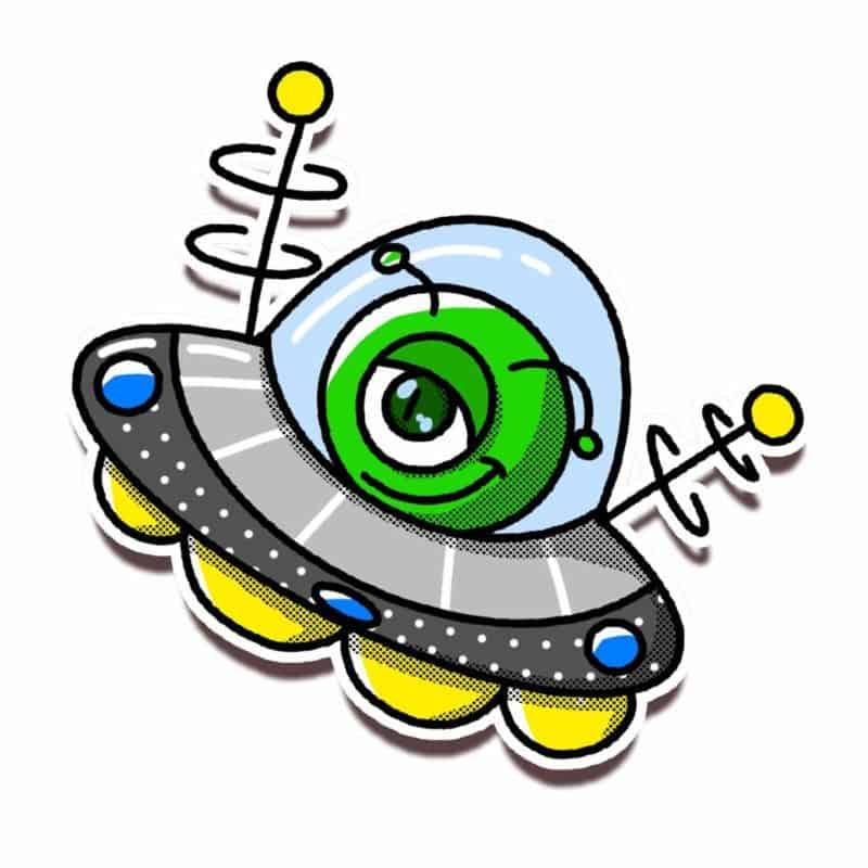 One eyed alien cartoon figure in spaceship